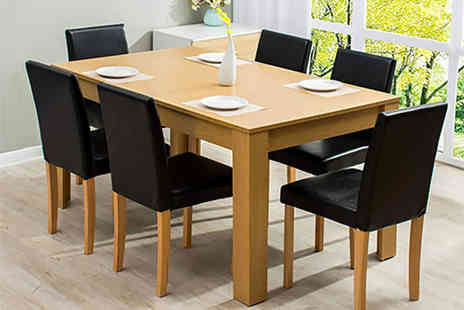 Meriden Furniture - Seven Piece dining set with PU leather chairs - Save 50%