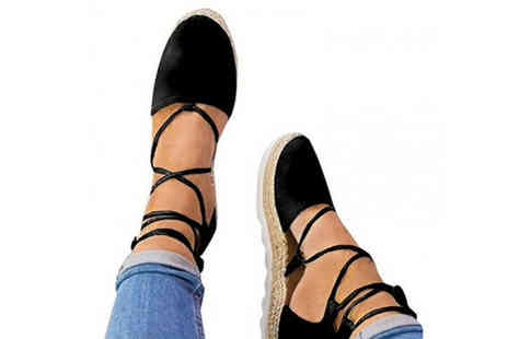 Wow What Who - Pair of lace up espadrille sandals choose from three colours - Save 64%