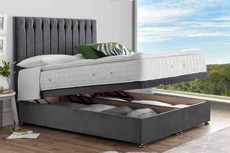 Serenity Designs - End lift ottoman divan storage bed or bed with a pillow top pocket sprung mattress choose from five sizes and eight colours - Save 43%