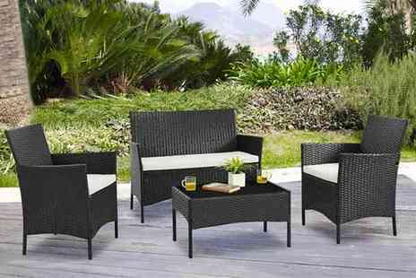 UK Furniture Zone - Four piece rattan garden furniture set - Save 75%