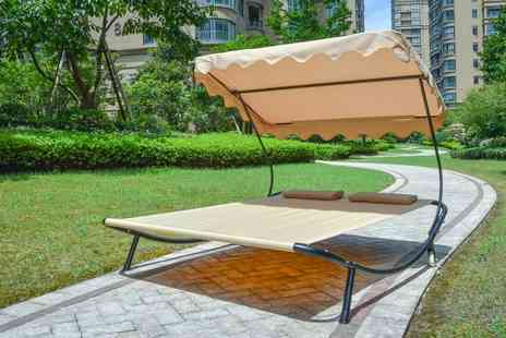Your Essential Store - Double outdoor sun lounger with canopy - Save 76%