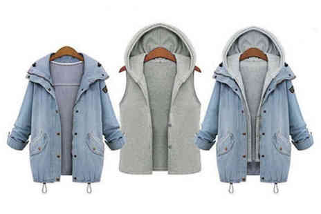 Blu Fish - Hooded two piece denim jacket - Save 0%