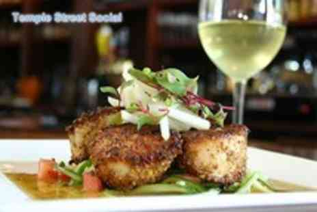 Temple Street Social - Two course meal for 2, inc. starter & main each plus bottle of wine - Save 52%