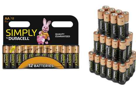 Groupon Goods Global GmbH - 12, 24, 36 or 72 Duracell Simply AA or AAA Batteries - Save 0%
