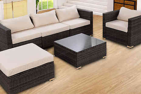 Costway - Six Piece Rattan Sofa And Table Set Choose Plus Two Cover Sets - Save 55%