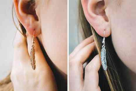 Philip Jones - Pair of feather earrings choose from two colours - Save 0%