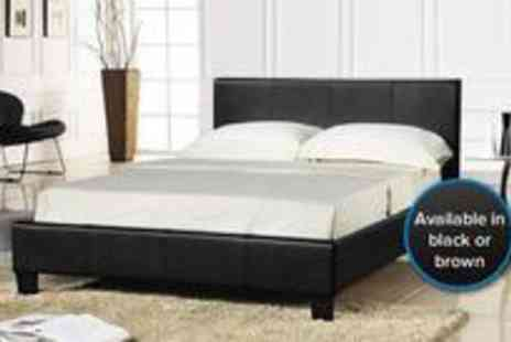 Bed Town - 5ft king size black faux leather bed frame plus a Slumber Sleep foam mattress - Save 60%