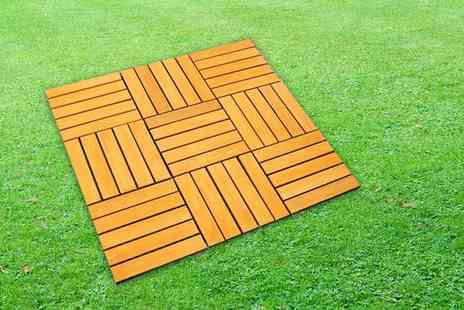 Zoozio - Pack of nine wooden decking tiles - Save 0%