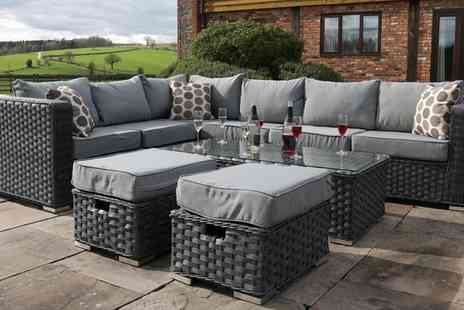 Groupon Goods Global GmbH - Yakoe Papaver Six, Eight or Nine Seater Rattan Effect Garden Furniture Set with Optional Cover - Save 0%