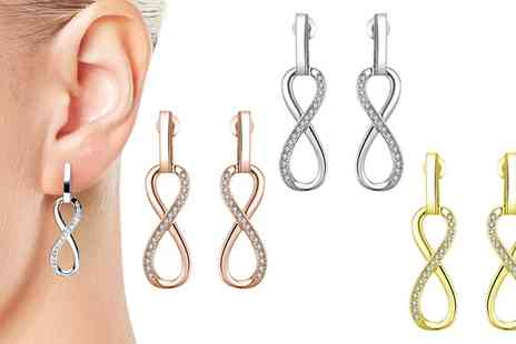 Groupon Goods Global GmbH - One, Two or Three Pairs of Philip Jones Infinity Loop Drop Earrings with Crystals From Swarovski - Save 67%