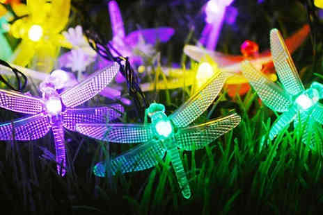 MBLogic - 40 Led Solar Powered Dragonfly Garden String Lights Choose Three Colours - Save 70%
