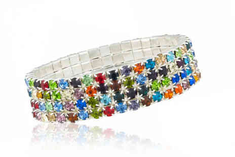 Your Ideal Gift - Four row multi coloured tennis bracelet - Save 92%