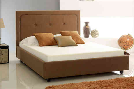 Majestic Furnishings - Double brown fabric buttoned ottoman bed, King bed, Double with a mattress or King with mattress - Save 77%
