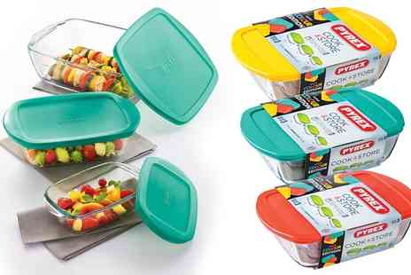 Groupon Goods Global GmbH - One or Two Pyrex Six Piece Oven Safe Glass Storage Sets in a Choice of Three Colours - Save 0%