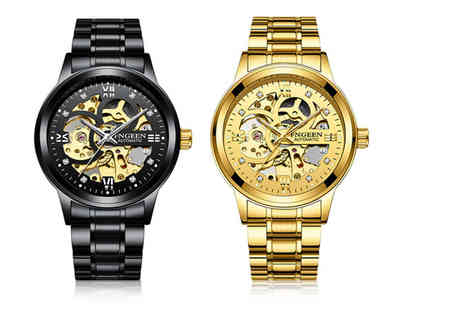 Taylors Jewellery - Mens luxury automatic stainless steel watch choose from two colours - Save 83%
