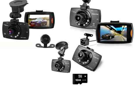 Groupon Goods Global GmbH - Apachie G30, G50 or G100 Hd Front and Rear Dash Cam with Optional 16Gb Sd Card - Save 0%