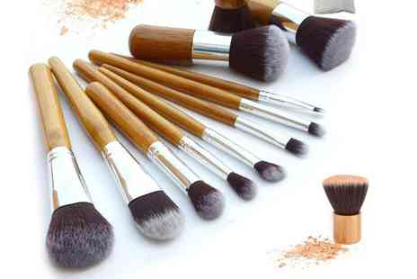 Groupon Goods Global GmbH - One, Two or Three Ten Piece Makeup Bamboo Brush Sets - Save 0%