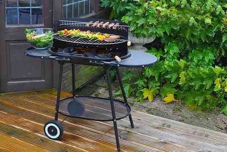 Groundlevel - Family size oval BBQ with wheels get cooking outdoors - Save 66%