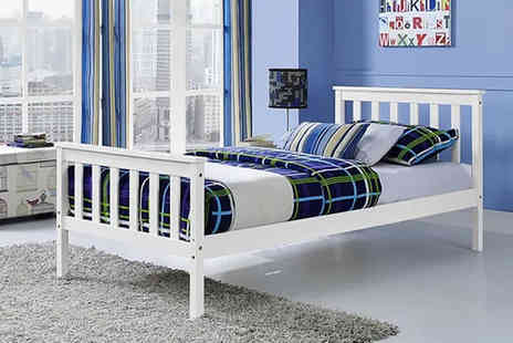 UK Furniture Zone - White pine wood bed frame choose from three sizes - Save 74%