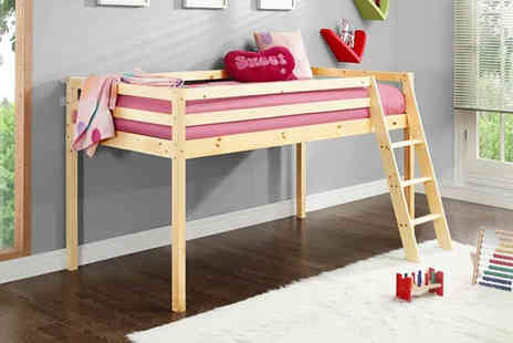 UK Furniture Zone - Wooden mid sleeper with slanting ladder choose from three colours - Save 79%