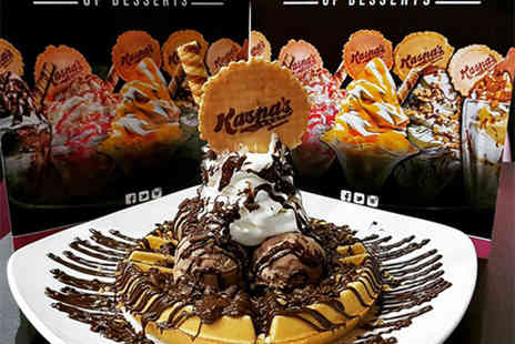 Kaspa's Desserts Lancaster - Two waffles of your choice with a drink each - Save 46%