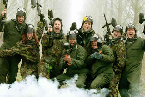 Bedlam Paintball - Full day paintballing and lunch for up to 10 people with 50 balls each - Save 94%