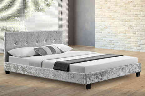 UK Furniture Zone - Crushed velvet fabric double bed frame - Save 71%