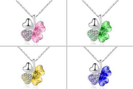Your Ideal Gift - Four leaf clover pendant necklace choose from four colours - Save 86%