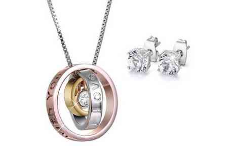 Bijou Amour - Loving words pendant necklace and earring jewellery set - Save 85%