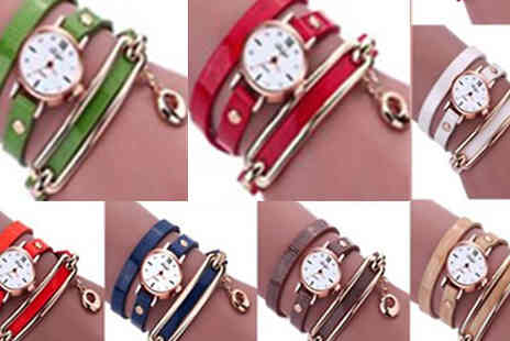 Marcus Emporium - Snake Strap Watches With Swarovski Crystals Choose from Six Colours - Save 67%
