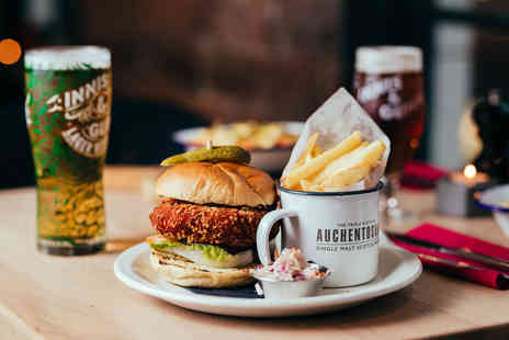 Innis & Gunn - Burger and fries, a salad or a hot dog and schooner of beer or glass of wine each for two people - Save 57%