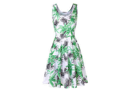 Aha Trading - Skater Style Print Dress with Wide Straps Choose from Three Colours - Save 83%