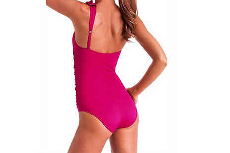 Aha Trading - Ruffle One Shoulder One Piece Swimsuit Choose from Rose or Black - Save 84%