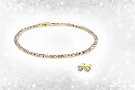 Victorias Candy - Rhodium plated crystal tennis bracelet and solitaire crystal earrings - Save 90%
