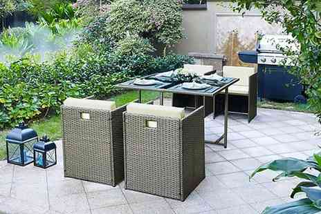 UK Furniture Zone - Golden Brown four seater cube rattan set - Save 56%