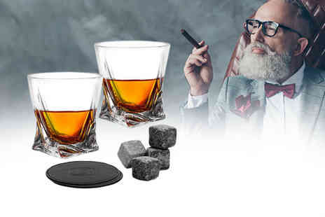 Omny Deals - Whiskey glass gift set includes two glasses, two coasters and four granite stones - Save 0%