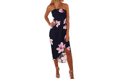 Aha Trading - Floral Bustier Crossover Dress Choose from 2 Colours and 5 Sizes - Save 64%