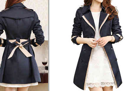 Aha Trading - Contrast Trim Trench Coat With Tie Belt Choose from 2 Colours and 3 Sizes - Save 53%