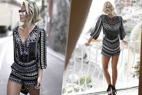 Aha Trading - Black Pattern Playsuit Available in Five Sizes - Save 61%