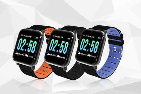 SinoStax - A6 smart bracelet with heart rate monitor choose from 3 colours - Save 80%