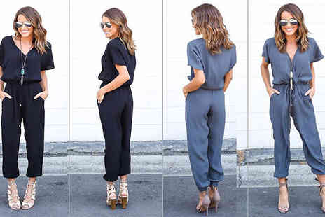 Aha Trading - Blue or Black Casual Jumpsuit Choose from Four Sizes - Save 52%