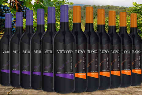 MGB Lifestyles - 6 x 6 Bottles of Luxury Virtuoso Red Wine Choose from Merlot, Pinot Noir, Sauvignon or Syrah - Save 69%