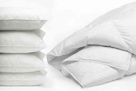 Direct Warehouse - 4.5 tog summer duvet and four pillows choose from four sizes - Save 72%