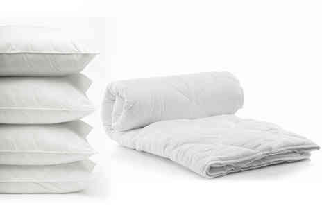 Direct Warehouse -  7.5 tog summer duvet and four pillows choose from four sizes - Save 75%