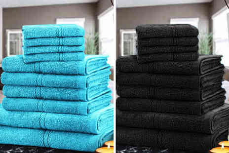 Fusion Online - 10 piece cotton towel bale choose from 12 colours - Save 68%
