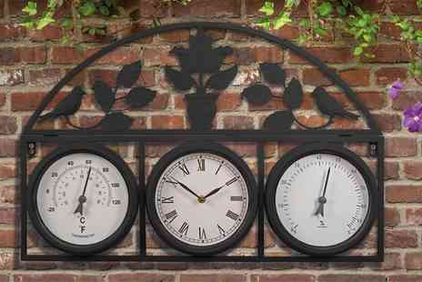 Groupon Goods Global GmbH - Garden Wall Clock and Weather Station in Choice of Colour with Optional Batteries - Save 0%