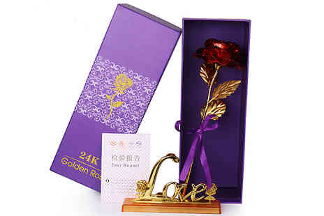 Best mall ever - 24K Gold Plated Rose with Optional Holder Choose from 5 Colours - Save 82%