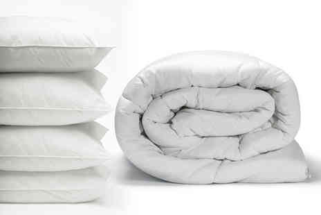 Direct Warehouse - Single all season nine tog duvet with four pillows - Save 72%