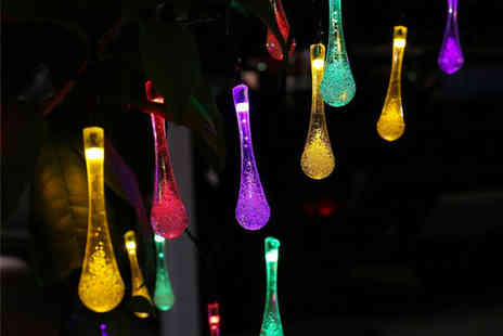 hey4beauty - Set of 10 water drop solar powered garden fairy lights - Save 75%