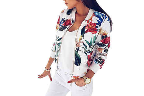 Aha Trading - Floral Spring Bomber Jacket Available in Two Colours - Save 80%